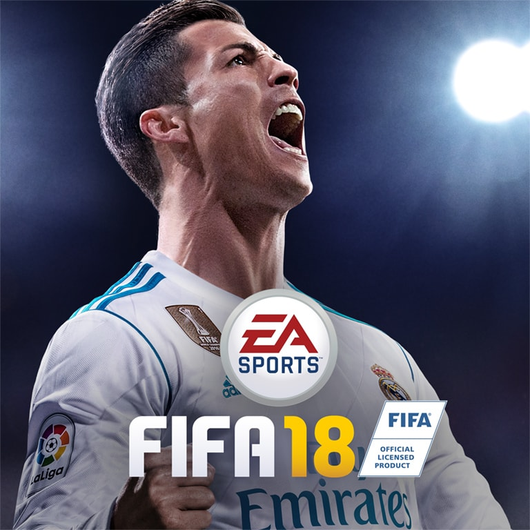 The world class footballer Cristiano Ronaldo excites millions after being Fifa 18's cover athlete.  Image obtained from EASports.com https://media.contentapi.ea.com/content/dam/ea/easports/fifa/home/2017/june/10/fifa18-homepage-marquee-bg-xs.jpg.