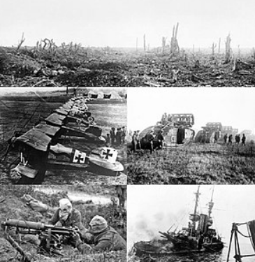 The image shown depicts the aftermath of a battle that occurred during World War I. Image from https://en.wikipedia.org/wiki/World_War_I