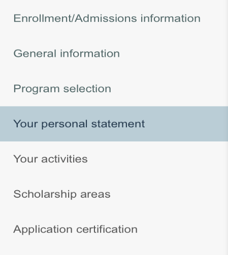 You might see a screen similar to this one when applying for scholarships. Image provided by Ekaterina Andren.