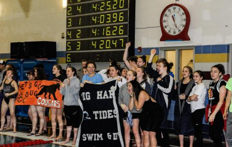 The lady Tides Swim and Dive repeat as district champions.  Photo credit: Coach Kelly.