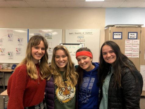 Change for Girls Senior members Madigan Cronk, Isabella Staley, Maye Sullivan, and Aly Weir. Photo Credit: GHHS Yearbook.