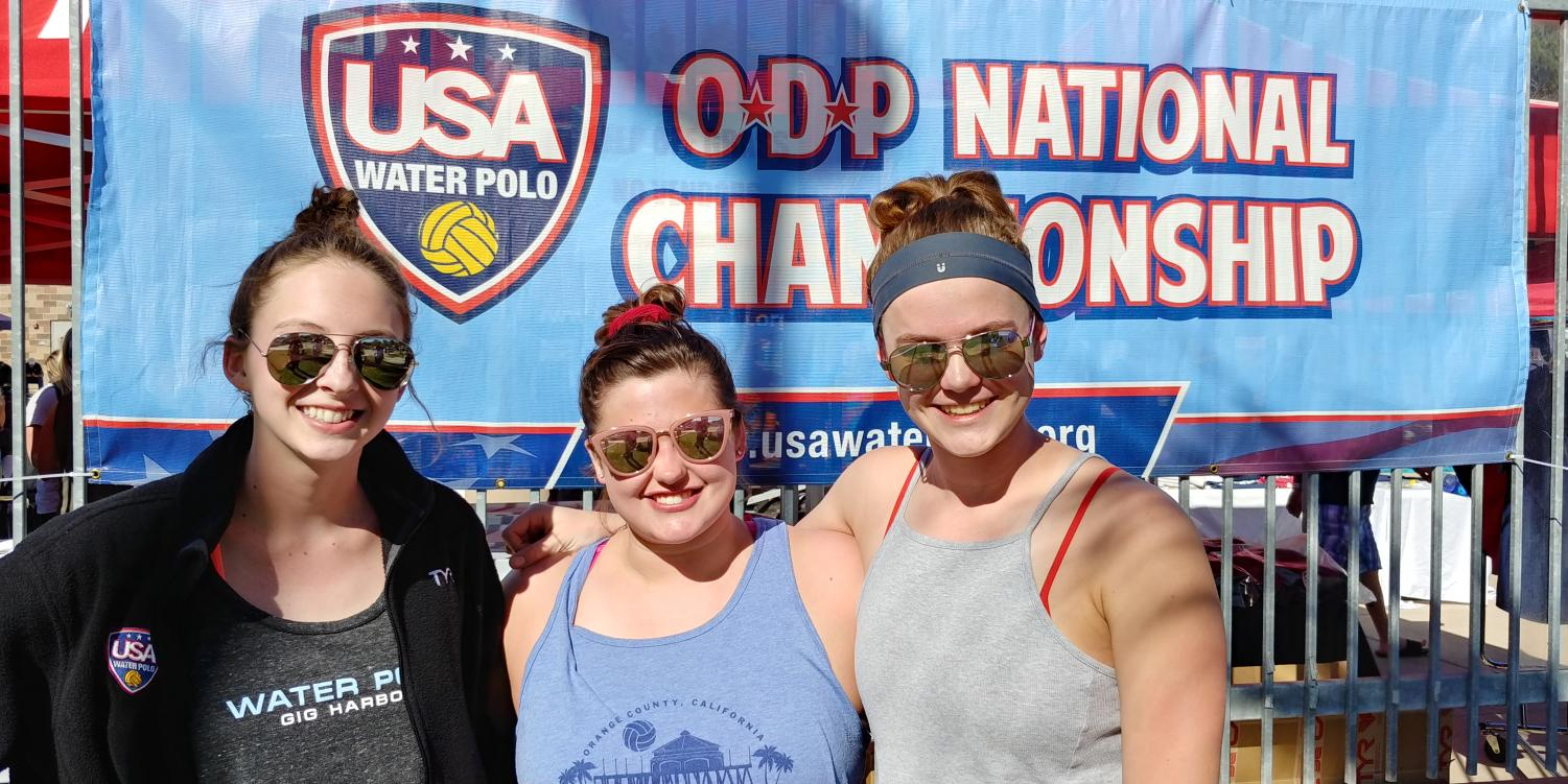 Juniors Tehgan Miller and Katie Ward with Senior Tatum Benson at the Girls Water Polo ODP National Championship. Photo Credit: Tatum Benson.